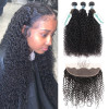 3 Bundles Brazilian Virgin Hair Curly Afro Weave With Lace Frontal