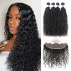 8A Unprocessed Brazilian Human Afro Curly Hair Weave 4 Bundles With 13*4 Lace Frontal Closure
