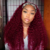 Burgundy Colored Curly Headband Wigs