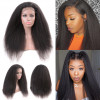 "24-30"" Kinky Straight Wigs Yaki Straight Human Hair Lace Front Wig"
