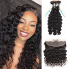 3 Bundles Brazilian Virgin Hair Loose Deep Wave With Lace Frontal