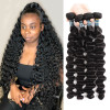 8A Peruvian Virgin Human Hair Weave Bundles Loose Deep Wave 4 PCS