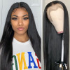 Straight Brazilian Natural Black Lace Front Wigs 130%-250%  Density