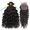Wet Wavy Virgin Hair Natural Wave 4*4 Lace Closure With Brazilian Hair Weave 3 Bundles