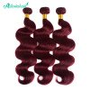 Asteriahair #99J Color Body Wave Weaves 3 Bundles Pre-colored Hair