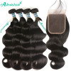 Body Wave Peruvian Virgin Hair Natural Color 100% Human Hair Weaving With Closure