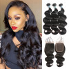 Virgin Hair Body Wave 4*4 Lace Closure And Virgin Brazilian Hair Weave 3 Bundles