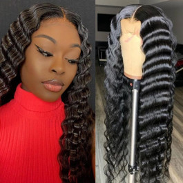 Crimped Hair Big Deep Wave Human Hair Lace Front Wigs