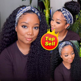 Curly Headband Wigs Human Hair Half Wigs