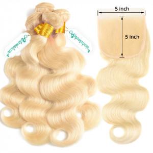 Blonde Bundles With Closure 5x5