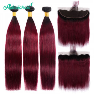 Black and Burgundy Hair Color Straight Hair
