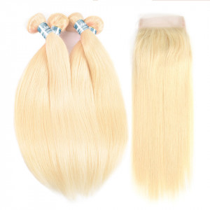 Blonde Hair Closure With Bundles