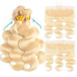 4 Bundles Blonde Body Wave Bundles With Frotnal