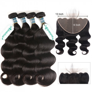 Body Wave 4 Bundles With 13x6 Frontal