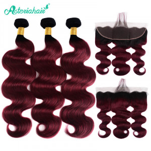 Body Wave Weaves With Frontal Ombre 99j Hair Color