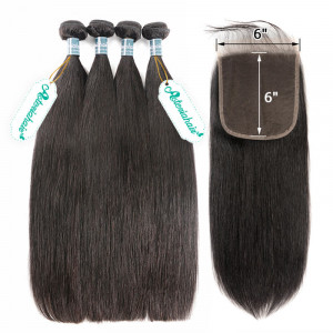 Brazilian Straight Bundles With Closure 6x6