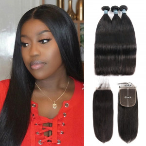 Virgin Human Hair Straight Weave 3 Bundles With 6x6 Closure