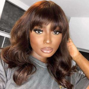brown wig with bang