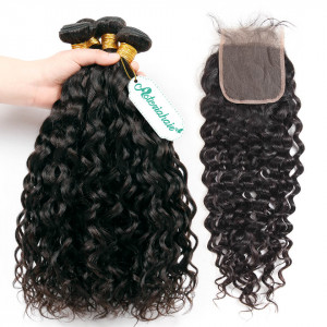 4 Bundles Water Wave With Lace Closure