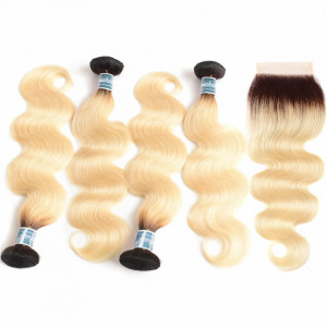 4 Bundles Blonde Body Wave Hair With Closure