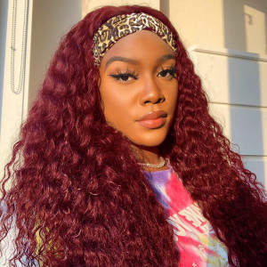 Burgundy Deep Wave Headband Wig