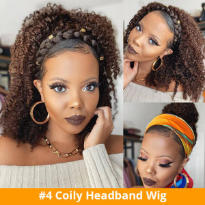 Coily Curly Wig With Headband