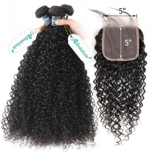 Curly Bundle With Closure 5x5