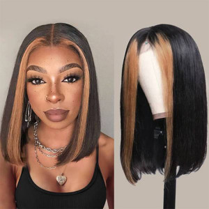 Short human hair lace front wig
