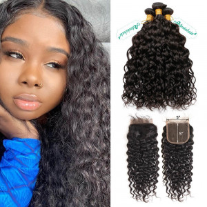 Ivy Water Wave Bundles With Closure 5x5
