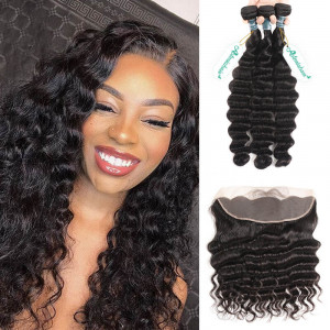 Loose Deep Wave Hair Bundles With Frontal
