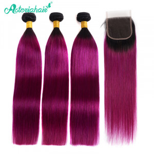 Purple Ombre Straight Bundles with Closure