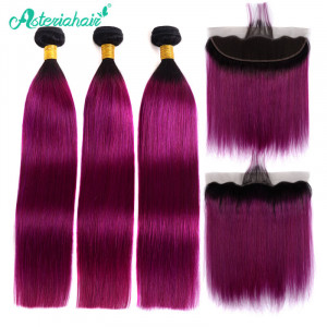 Purple Ombre Straight Bundles with Frontal