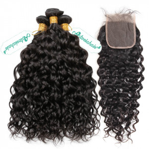 Bundles  With Closure Deal Water Wave Curl