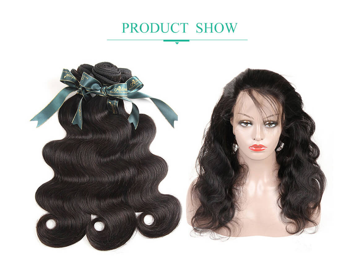 Brazilian Hair Human Hair Weave Body Wave 3 Bundles With 360 Lace