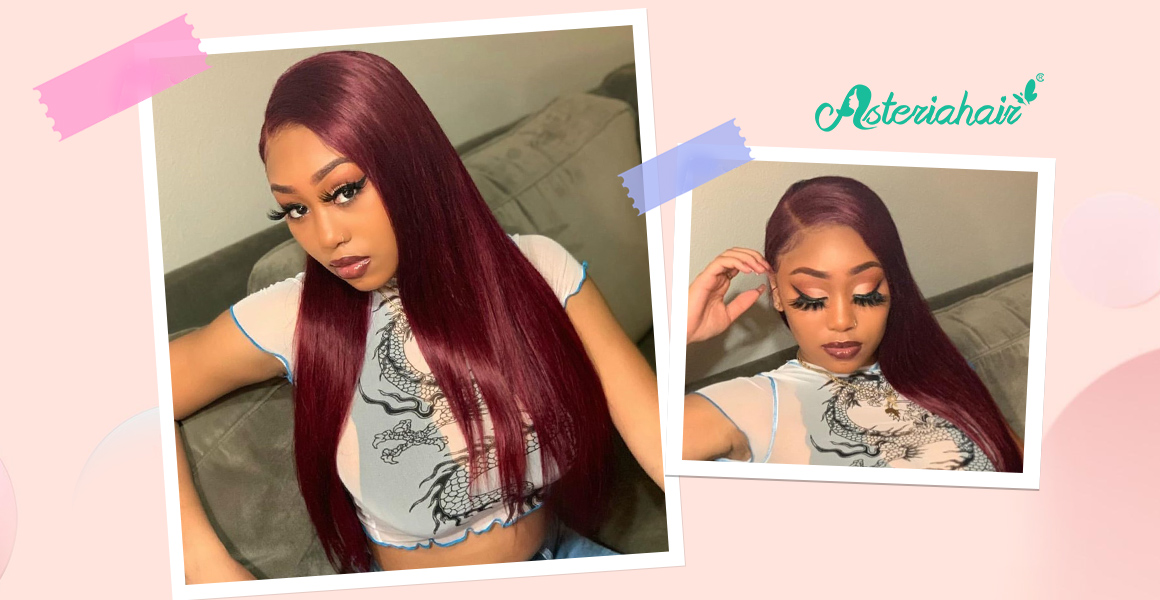 99J Burgundy Colored Wigs Straight Lace Front Wigs