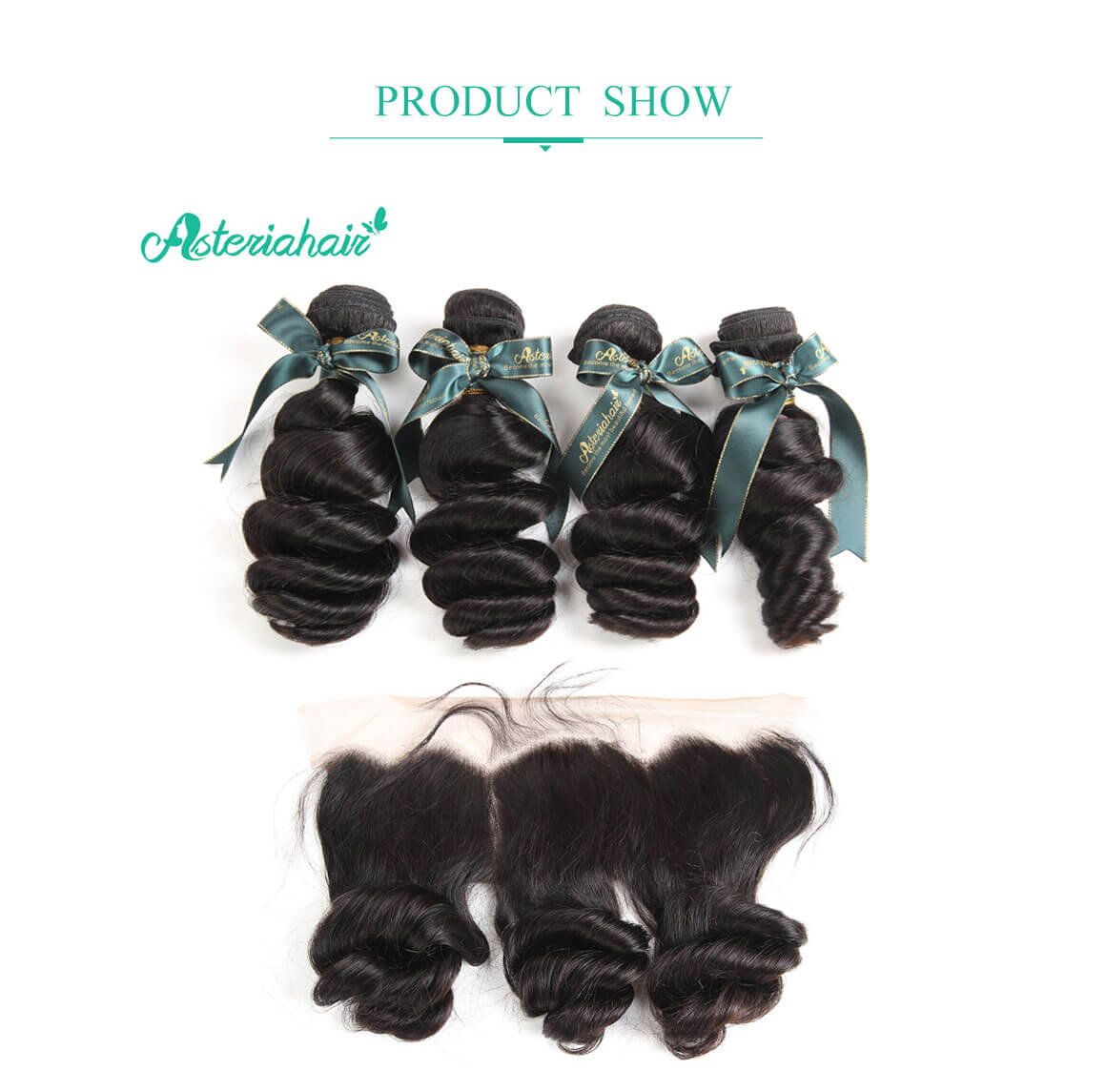 4 bundles loose wave with lace frontal