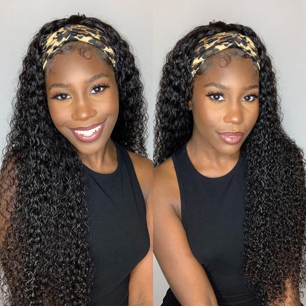 Deep Curly Hair Human Headband Wigs