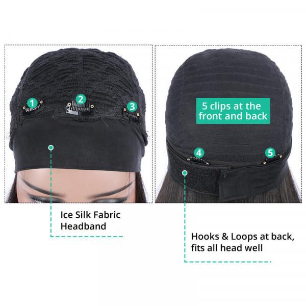 100% Real Human Headband Wigs